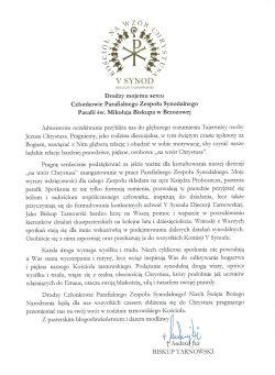 Czytaj więcej: List Biskupa Tarnowskiego do Parafialnego Zespołu Synodalnego